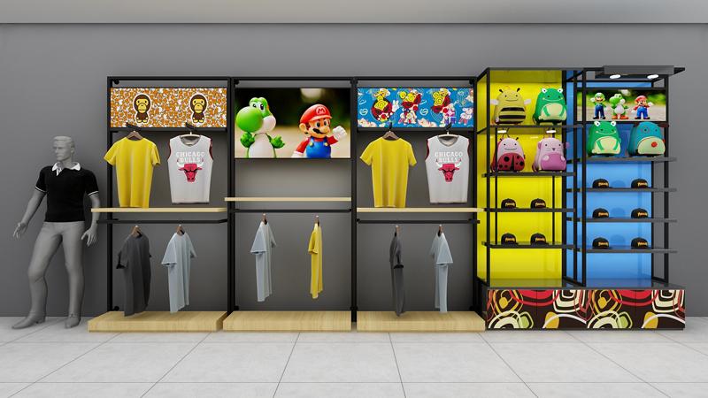 展示柜厂家设计童装展示柜可以融入卡通元素